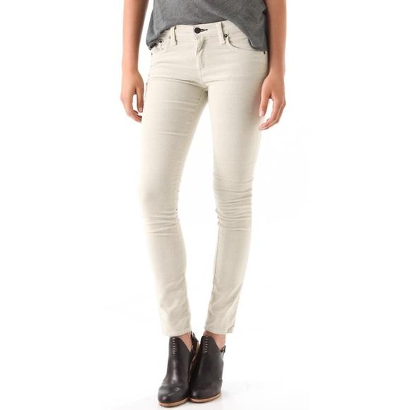 rag & bone Denim - Rag & Bone Skinny Corduroy Pants in Eggshell White